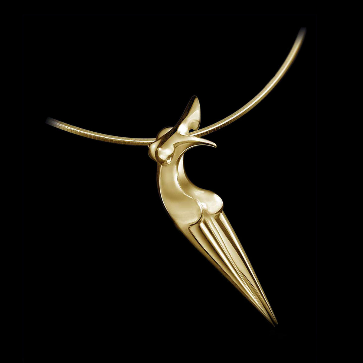Pendant Nina, contemporary Gold Jewel of sculptor Marion Bürkle