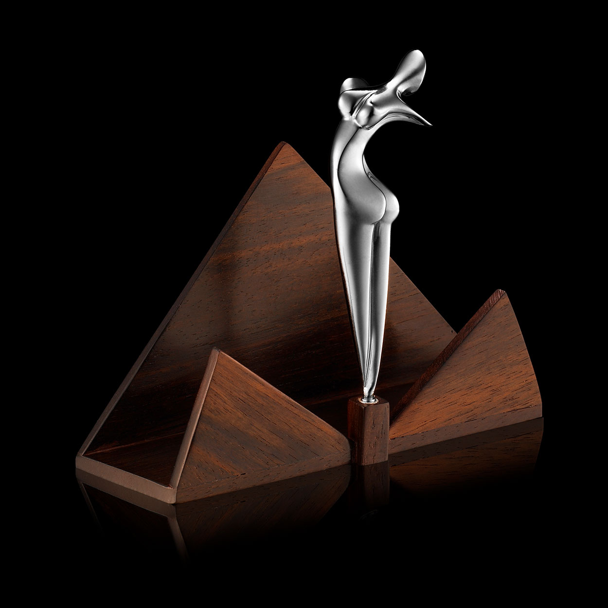 Nina, card holder, Ebony wood and solid silver, Marion Bürklé sculptor