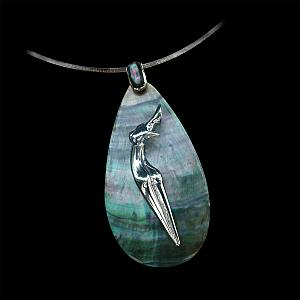 Nina, Dark Mother of pearl and solid Silver, Jewel of Marion Bürklé